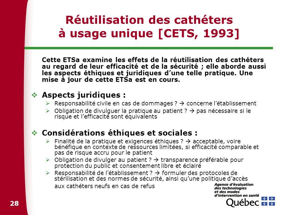 Réutilisation des cathéters à usage unique [CETS, 1993]